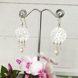 Glasperlen-Ohrhänger Perlmutt-Ornament