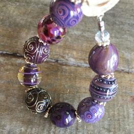 Armband - Violett mit 925-Sterlingsilber-Knebelverschluss
