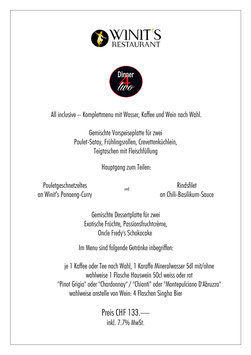 WINIT's  3-Gang-Dinner 4 two | Geniessen & Schlemmen zu zweit.