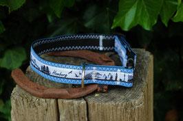 Hundehalsband, schwarz/blau, weiß, schwarz, Hamburg
