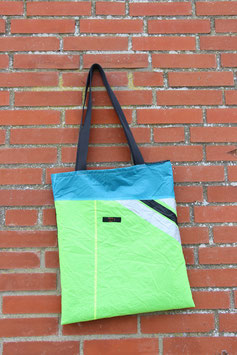 Einkaufstasche 2.0, neongelb, hellblau, schwarz