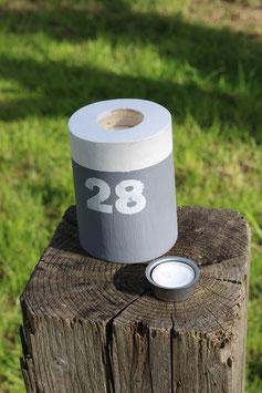 """Teelichthalter aus Holz mit Teelicht, Poller, Aufdruck """"28"""", Nr. 2"""