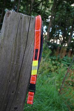 Schlüsselband, anthrazit/orangerot, gelb, Reflektorstreifen