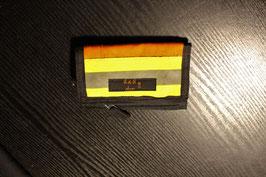 Geldbörse II, schwarz/orangerot, gelb, Reflektorstreifen, aus einer alten Feuerwehrjacke