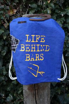Turnbeutel, 100 % Baumwolle, blau/sonnengelb, LIFE BEHIND BARS