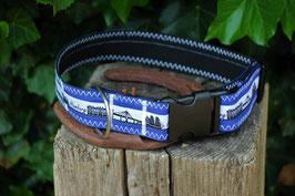 Hundehalsband, schwarz/blau, blaugrau, weiß, schwarz, Hamburg