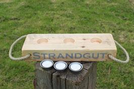 """Teelichthalter aus Holz mit Teelichtern, Seil und dem Schriftzug """"Strandgut"""", Nr. 6"""