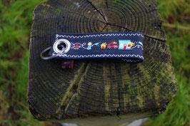Schlüsselanhänger, schwarz/blau, Feuerwehrwebband