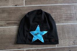 Mütze, schwarz/hellblau, schwarz, Stern, f-one