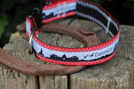 Hundehalsband, schwarz/rot, weiß, schwarz, Danmark