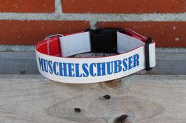 """Hundehalsband, rot/weiß, blau, """"MUSCHELSCHUBSER"""""""