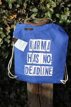 Turnbeutel, 100 % Baumwolle, blau/weiß, Karma has no deadline