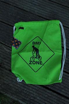 Turnbeutel, 100 % Baumwolle, hellgrün/schwarz, BMX Zone