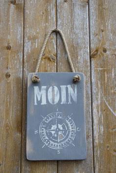 Schild MOIN, Kompass, grau, weiß