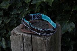 Hundehalsband, petrol/schwarz, grau, rot, BEST Kiteboarding