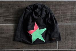 Mütze, anthrazit/neongrün, neonpink, Stern