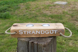 """Teelichthalter aus Holz mit Teelichtern, Seil und dem Schriftzug """"Strandgut"""", Nr. 5"""