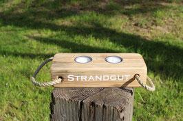 """Teelichthalter aus Holz mit Teelichtern, Seil und dem Schriftzug """"Strandgut"""", Nr. 7"""