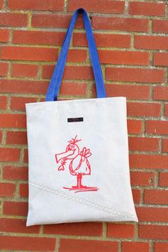 """Einkaufstasche 2.0, rot, weiß, blau, """"nordisch"""", Möwe"""