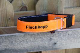 """Hundehalsband, schwarz/orange, schwarz, """"FISCHKOPP"""""""