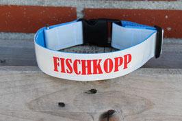 """Hundehalsband, blau/weiß, rot, """"FISCHKOPP"""""""