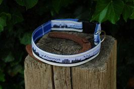Hundehalsband, blau/weiß, schwarz, Danmark