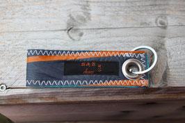 Schlüsselanhänger, hellblau/grau, orange