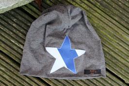 Mütze, mittelgrau/weiß, blau, Stern