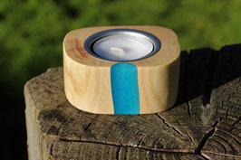 Teelichthalter aus Holz mit Expoxidharz, Nr. 5