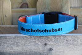 """Hundehalsband, schwarz/hellblau, schwarz, """"MUSCHELSCHUBSER"""""""