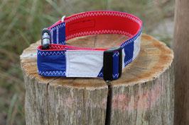 Hundehalsband rot/blau, weiß
