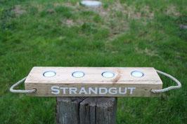 """Teelichthalter aus Holz mit Teelichtern, Seil und dem Schriftzug """"Strandgut"""", Nr. 1"""