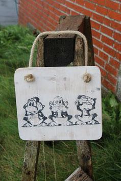 """Schild """"3 Affen"""", weiß, anthrazit"""