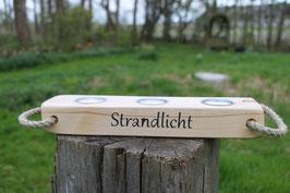 """Teelichthalter aus Holz mit Teelichtern, Seil und dem Schriftzug """"Strandlicht"""", Nr. 2"""