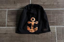 Mütze, schwarz/orange, schwarz, Anker