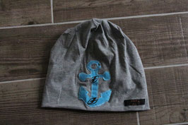 Mütze, hellgrau/hellblau, schwarz, Anker, f-one