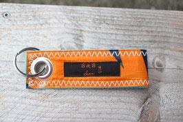 Schlüsselanhänger, hellblau/orange, grau