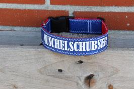 """Hundehalsband, rot/blau, weiß, """"MUSCHELSCHUBSER"""""""