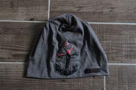 Mütze, mittelgrau/rot, schwarz, Anker