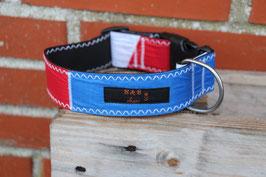 Hundehalsband, schwarz/rot, blau, weiß