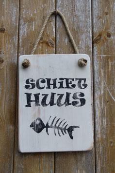 Schild Schiethuus, Fischgräte, weiß, schwarz