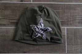 Mütze, oliv/schwarz, weiß, Stern, Naish