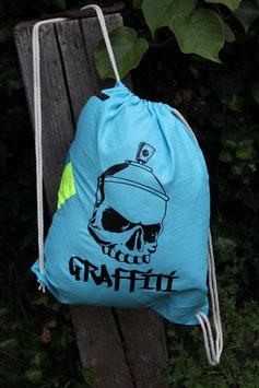 Turnbeutel, 100 % Baumwolle, blau/schwarz, blau, neongelb, Skull-Sprühdose Graffiti