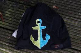 Mütze, schwarz/lemon, hellblau, Anker