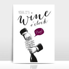 "A4 Artprint ""Wine o'clock"""