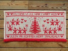 """Broderade julvepa""""Nu har vi jul här i vårt hus"""" /刺繍タペストリー 「クリスマスが来たよ」"""