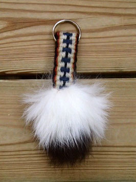 Nyckelring med vävda band samt kaninpäls / ラビットファー付き手織りバンドのキーホルダー(B)