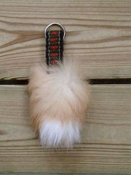 Nyckelring med vävda band samt kaninpäls / ラビットファー付き手織りバンドのキーホルダー(E)