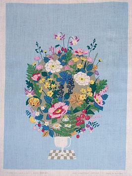 """Jobs Handtryck vintage tavla """"Rosor och Akvileja"""" - ljusblå / ヨブスヴィンテージタペストリー「バラと苧環」"""