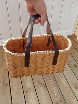 Näverväska m. brunaläderhandtag / 白樺のバッグ 茶レザーハンドル